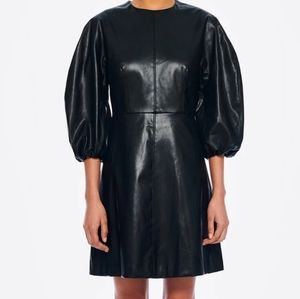 Tibi structured faux leather mini dress